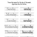 Дни недели - Напишите первую букву