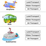 Транспорт - Соедини картинки с описаниями